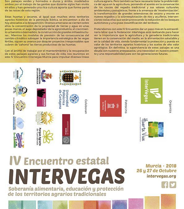 La huerta de Murcia acogerá en octubre de 2018 la celebración del IV Encuentro Estatal Intervegas